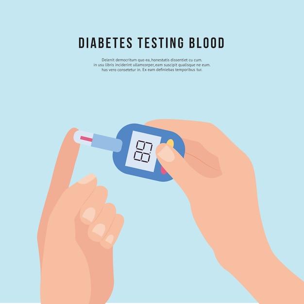 Mão segurando um dispositivo de teste de sangue para diabéticos ou medidor de glicose Vetor Premium