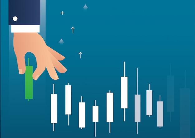 Mão segurando um mercado de ações de gráfico de castiçal Vetor Premium