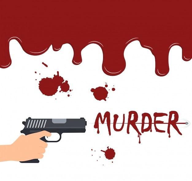 Mão segurando uma arma atirando no sangue fluindo fundo Vetor Premium