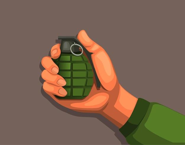 Mão segurando uma granada. cartoon de equipamento de arma de explosão do exército Vetor Premium
