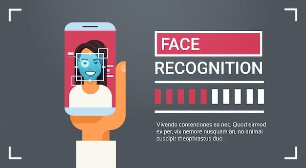 Mão, segurar, esperto, telefone, digitalizando, íris feminina, rosto, reconhecimento, tecnologia, bandeira, biometric, identificação Vetor Premium