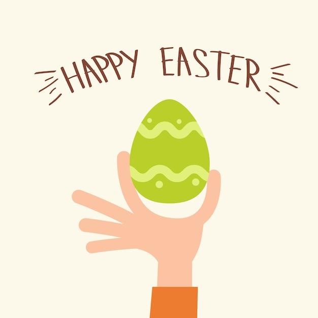Mão segure ovo pintado feliz páscoa feriado cartão de saudação Vetor Premium