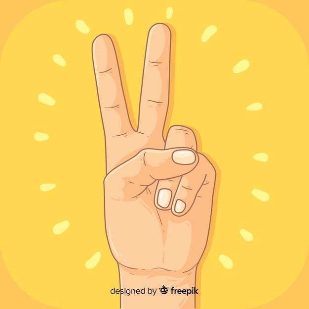 Mão, sinal paz, fundo Vetor grátis