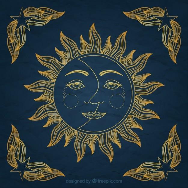 Mão sol desenhado e ornamento da lua Vetor Premium