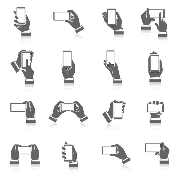 Mão, telefone, ícones Vetor grátis