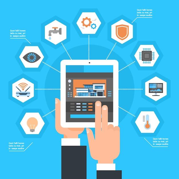 Mão usando o sistema de controlo home esperto no conceito da automatização da monitoração da casa do tablet pc Vetor Premium