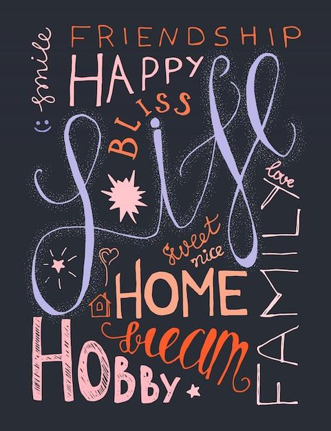 Mão vintage desenhada lettering composição hipster com palavras sobre a vida, sucesso e sonho Vetor Premium