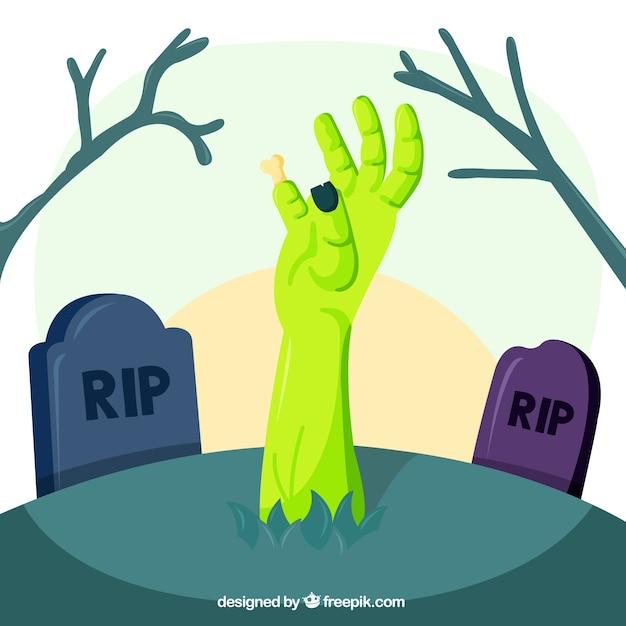 Mão zombie emergente da sepultura Vetor grátis