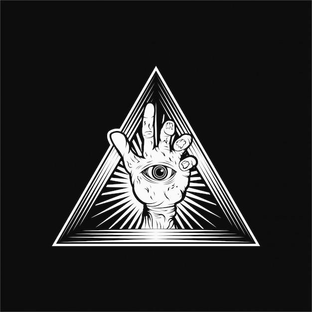 Mão, zumbi, vetorial, ilustração Vetor Premium