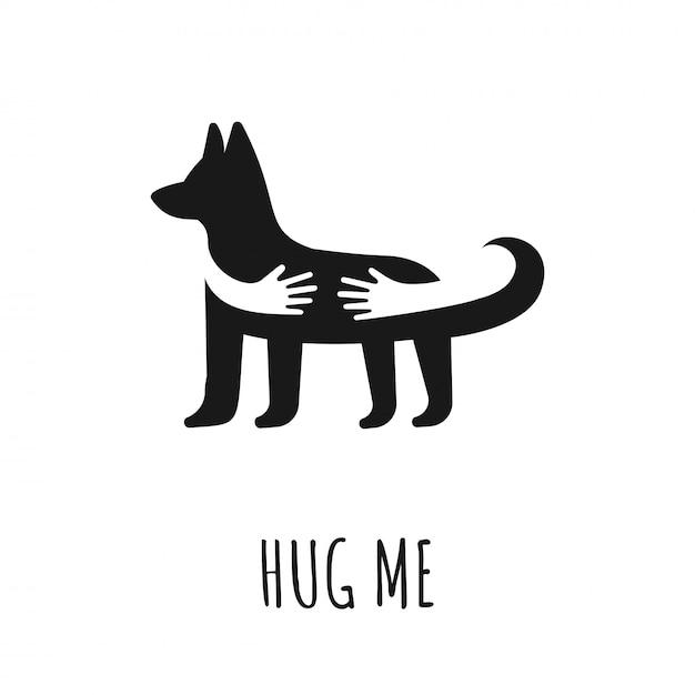 Mãos, abraçando, cão ícone de vetor plana com cachorro. abrace-me o texto. amo o logotipo de animais, ícone do design. animais de estimação em casa veterinária ou conceito de loja. Vetor Premium
