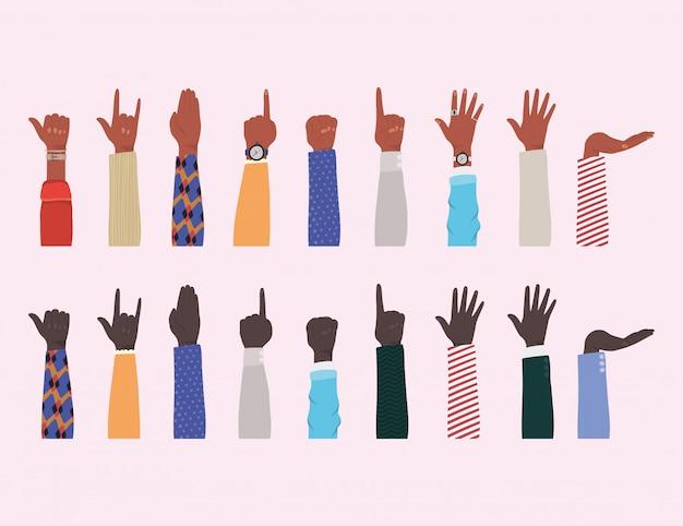 Mãos ao alto de diferentes tipos de design de skins, diversidade de pessoas, raça multiétnica e tema comunitário Vetor Premium
