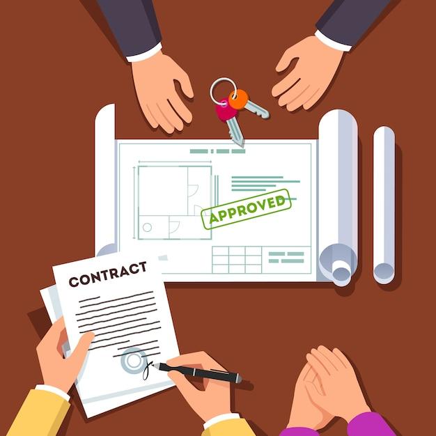 Mãos assinando contrato de casa ou apartamento Vetor grátis