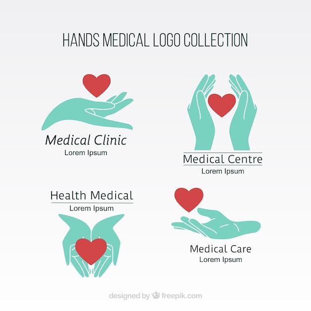 Mãos coleção logotipo médico Vetor Premium