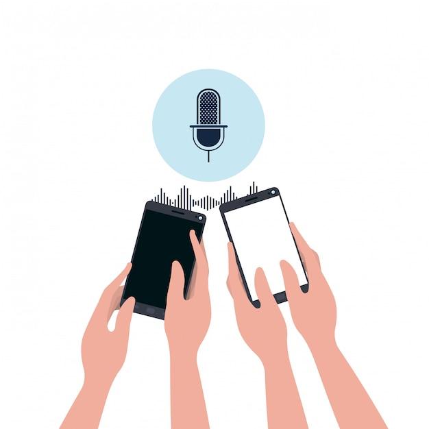 Mãos com assistente de smartphone e voz Vetor Premium