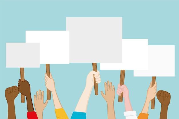 Mãos com cartazes Vetor grátis