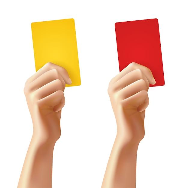 Mãos com cartões de futebol Vetor grátis