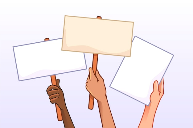 Mãos com conceito de cartazes Vetor grátis