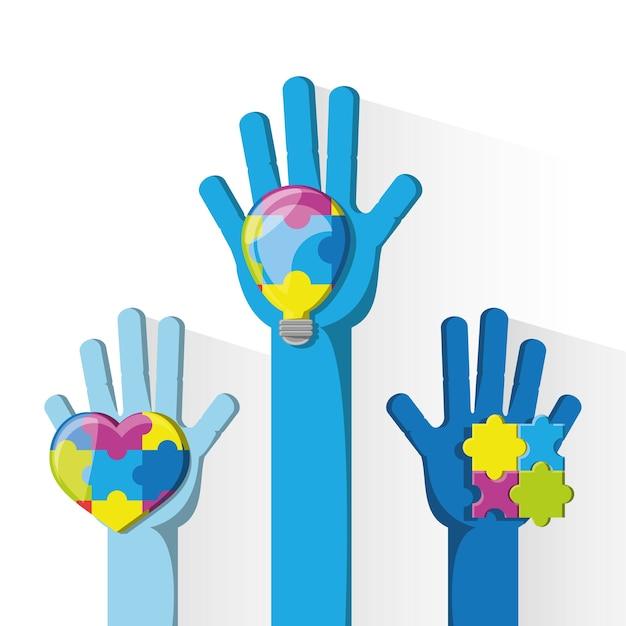 Mãos com lâmpada e coração Vetor Premium