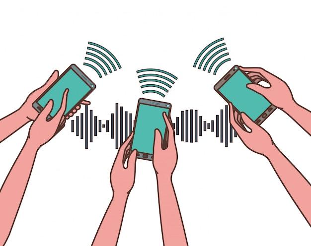 Mãos, com, smartphone, e, onda sonora Vetor Premium