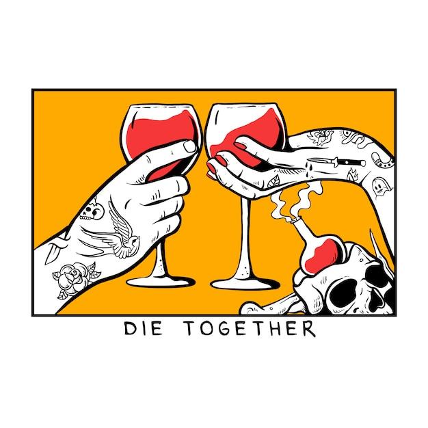 Mãos com tatuagem segurando um copo de ilustração de vinho tinto Vetor Premium