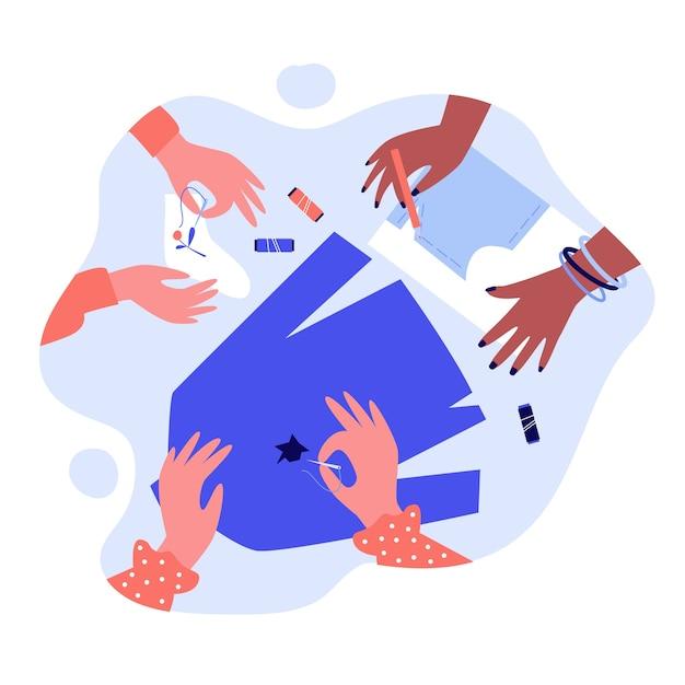 Mãos consertando roupas e costurando com agulha. meia, fantasia, ilustração de linha. conceito de bordado e artesanato para banner, site ou página de destino Vetor Premium