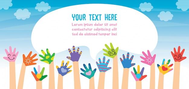 Mãos de crianças pintadas Vetor Premium