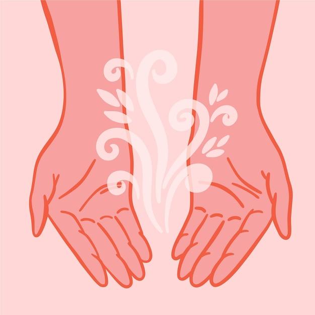 Mãos de cura energética de design plano com elemento floral Vetor grátis