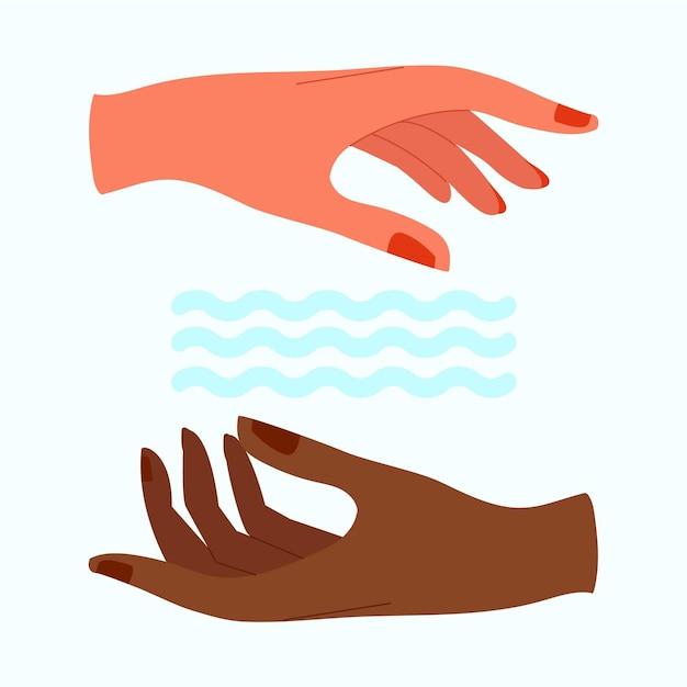 Mãos de cura energética e ondas de água Vetor grátis