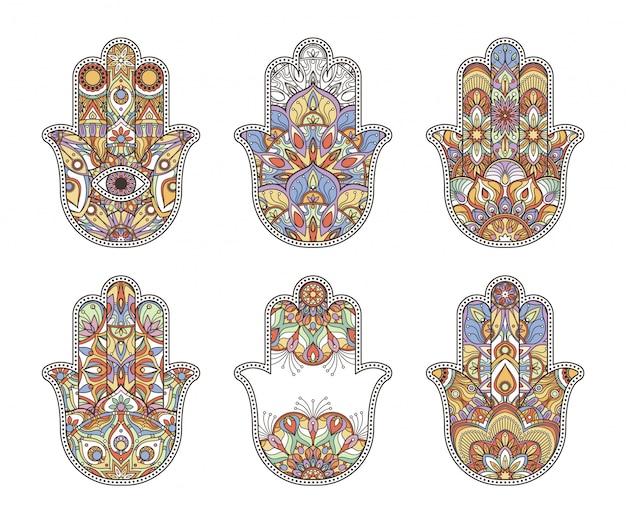 Mãos de hamsa tailândia étnica mão desenhada Vetor Premium