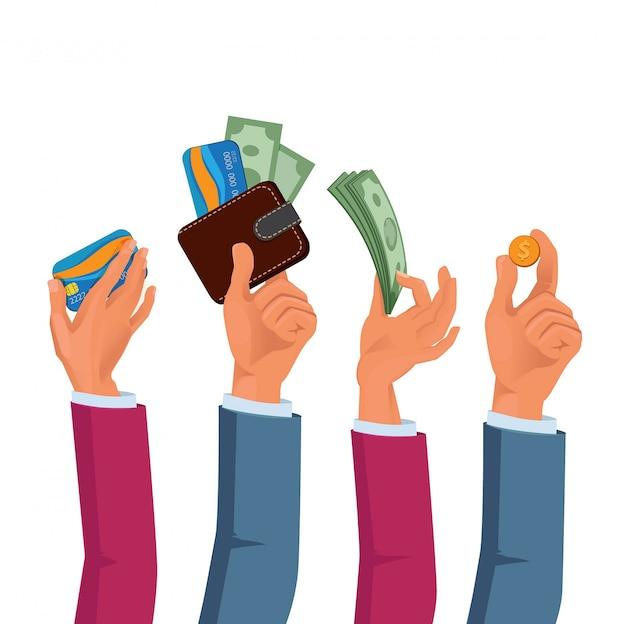 Mãos, de, macho fêmea, segurando, dólares, e, moedas Vetor Premium