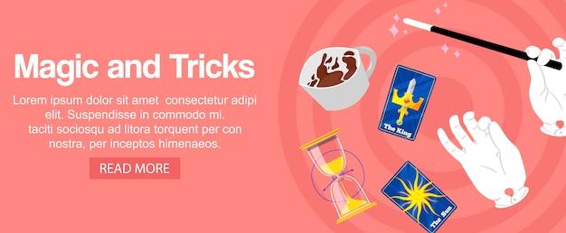 Mãos de mágico segurando varinha mágica, cartões, relógios de areia e truques Vetor Premium