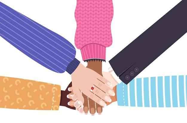 Mãos de mistura raça grupo de mulheres reunindo movimento de empoderamento feminino feminino união de feministas conceito ilustração vetorial horizontal Vetor Premium