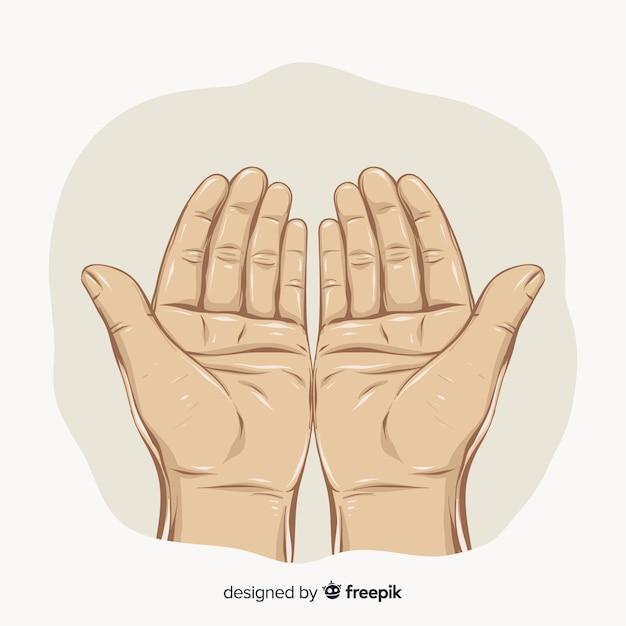 Mãos de oração realistas Vetor grátis