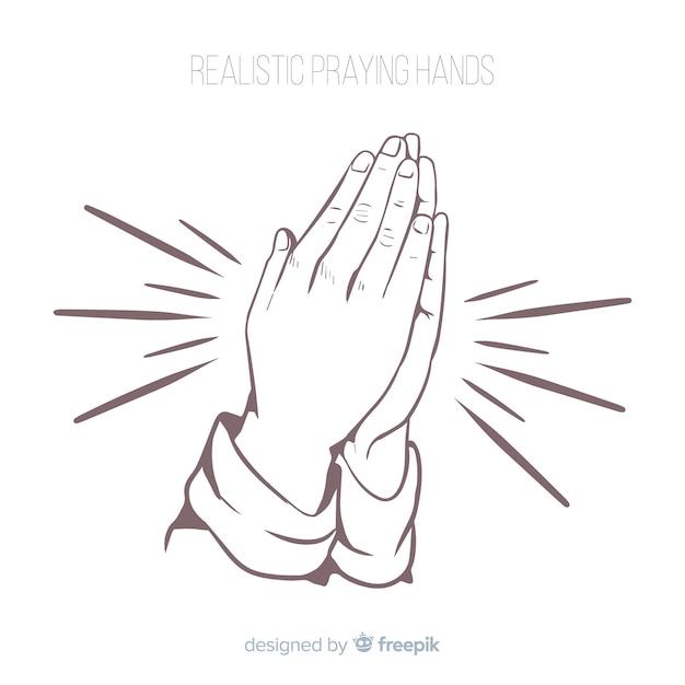 Mãos de oração realistas Vetor Premium