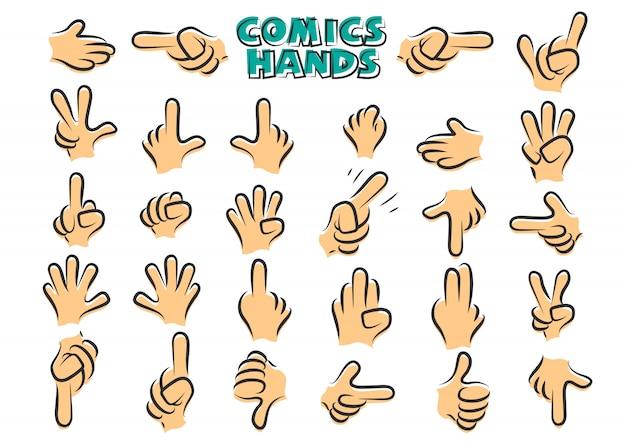 Mãos de quadrinhos Vetor Premium