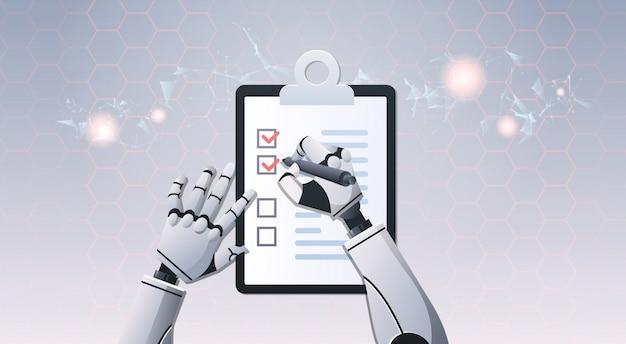 Mãos de robô segurando a lista de verificação Vetor Premium