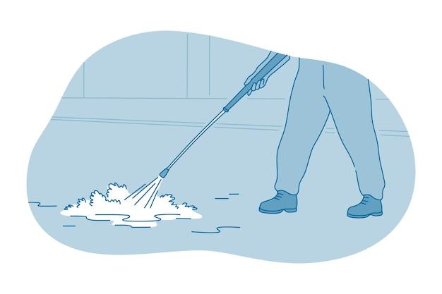 Mãos de trabalhador ou empregada doméstica limpando o chão com espuma lexical líquida Vetor Premium