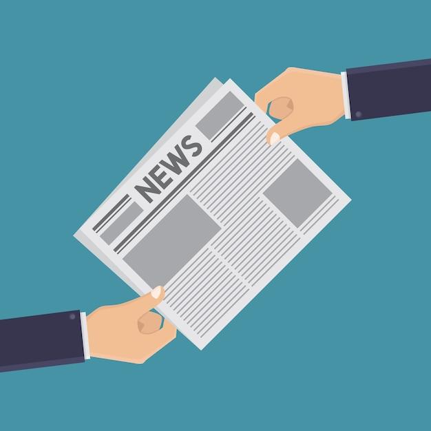 Mãos e jornais estilo de design plano de ilustração Vetor Premium