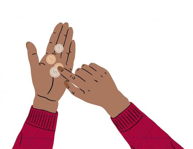 Mãos femininas estão segurando uma moeda. falta de dinheiro, crise econômica, pobreza. problemas com finanças devido a coronavírus. falência, ruína empresarial, desemprego Vetor Premium