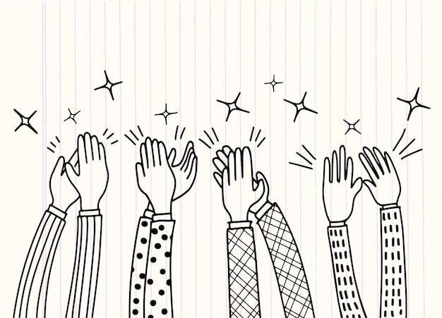 Mãos humanas aplaudindo ovação Vetor Premium