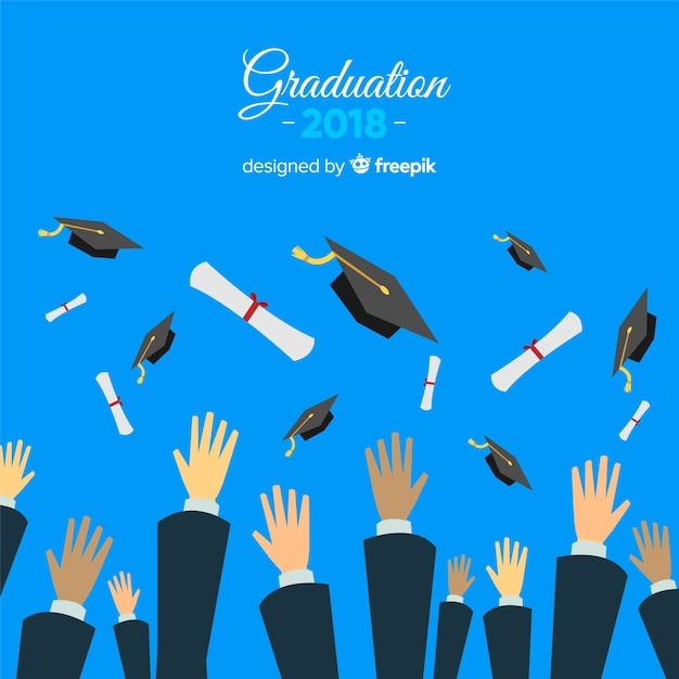 Mãos, jogar, chapéus graduação, ar Vetor grátis