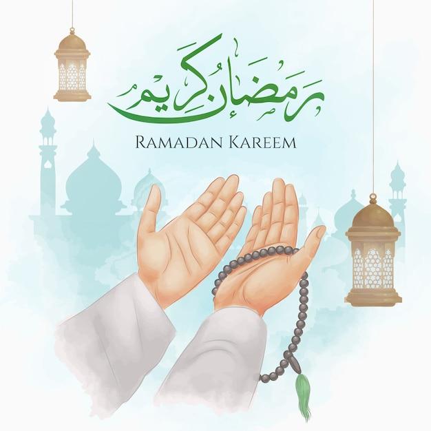 Mãos orando no ramadã Vetor Premium