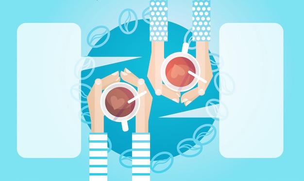 Mãos, par, segure, copo chá, parta café, bebida, manhã, bandeira Vetor Premium