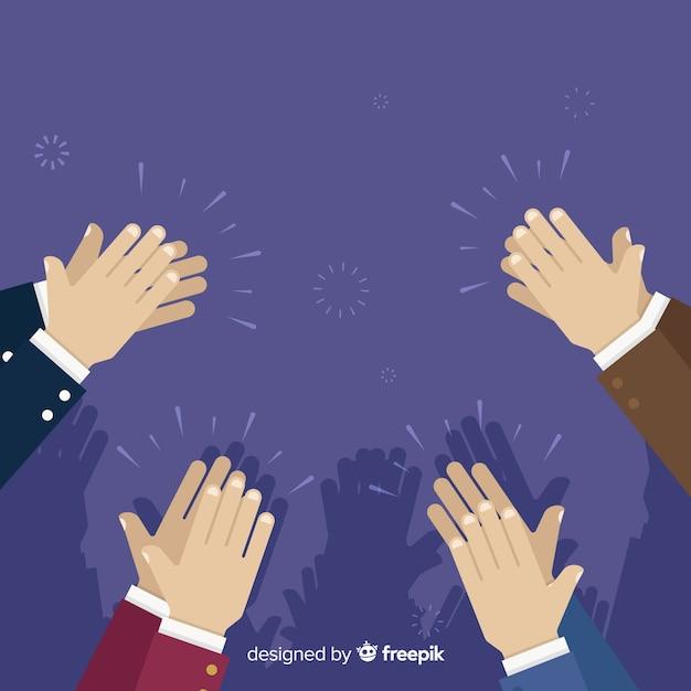 Mãos planas aplaudindo fundo Vetor grátis
