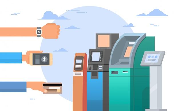 Mãos, segurando, cartão crédito, e, célula, esperto, telefones, atm, terminal, máquina, móvel, pagamento, conceito Vetor Premium