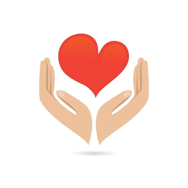 Mãos segurando coração vermelho amor cuidado família protegem poster ilustração vetorial Vetor grátis