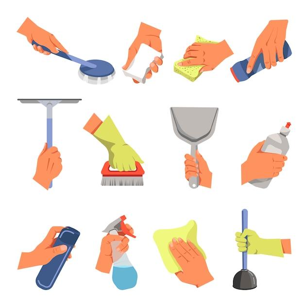 Mãos segurando diferentes ferramentas de limpeza vector conjunto de ícones plana Vetor Premium