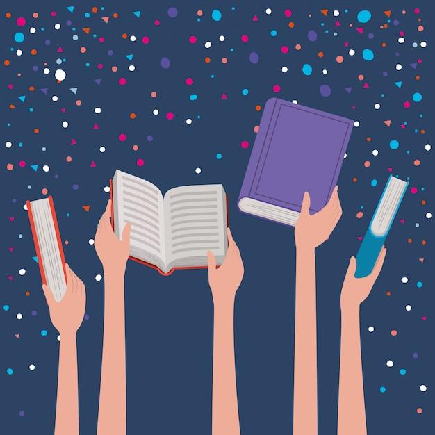 Mãos, segurando, livros Vetor grátis