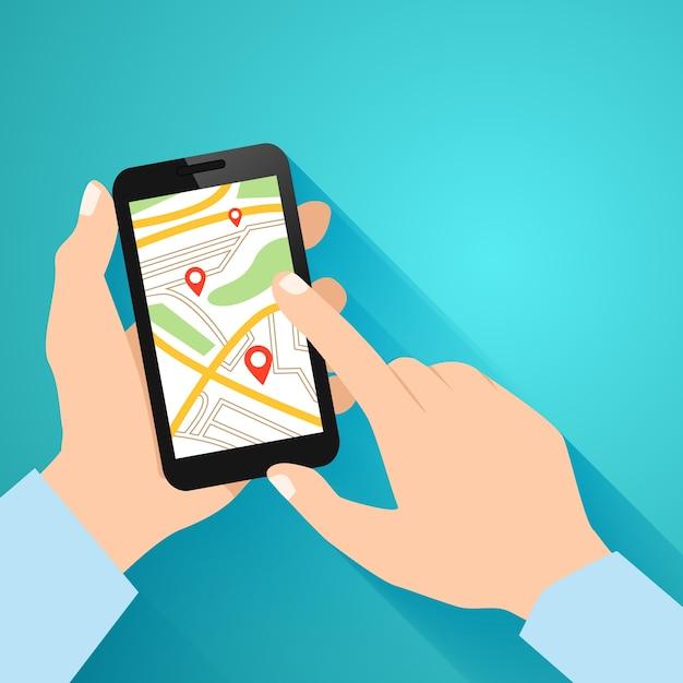 Mãos segurando o smartphone com a ilustração do vetor do aplicativo de navegação em execução Vetor grátis