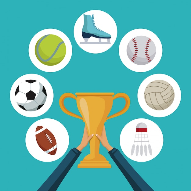 Mãos segurando um copo de troféu de ouro com ícones elementos esporte em quadros circulares ao redor Vetor Premium